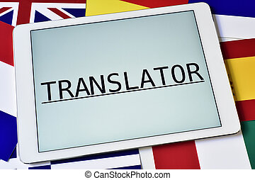 different flags and the word translator in the screen of a...