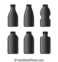 Water Bottle Icon Set on White Background. Vector