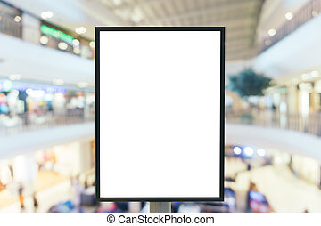Blank sign with copy space for your text message or content in modern shopping mall.