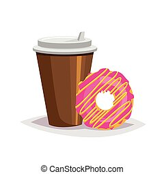 Colorful cartoon fast food icon on white background. coffee and donut
