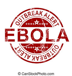 Ebola stamp with white background, 3D rendering