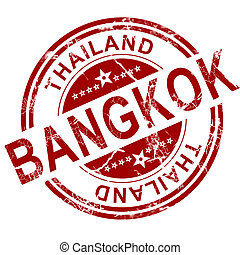Red Bangkok stamp with white background, 3D rendering