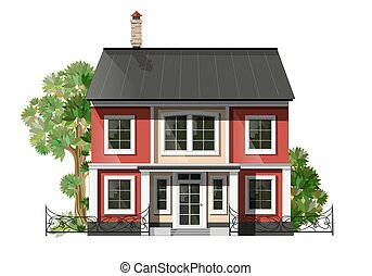 Vector illustration of cool detailed family house. Private...