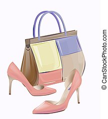 Fashion women's handbag and high-heeled shoes. Pair of red...