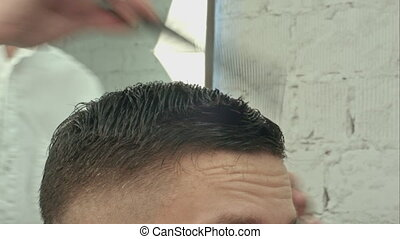 Men's haircut at the barber scissors. Professional shot on...