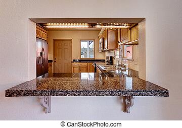 vista, de, cocina, habitación, interior, con, granito,...