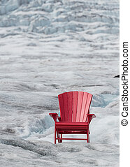 Empty Red Chair with Glacier