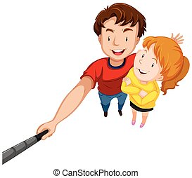 Man and woman with big smile illustration