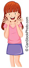 Teenager girl with big smile illustration