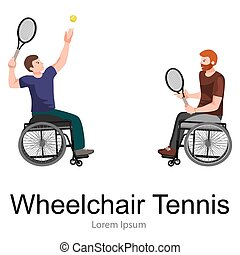 Disabled Athlete On Wheelchair Play Tennis Sport Competition Vector