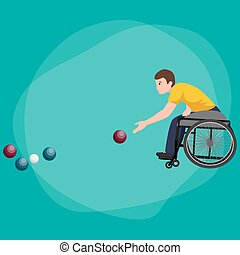 Disabled Athlete On Wheelchair Play Boccia Sport Competition...