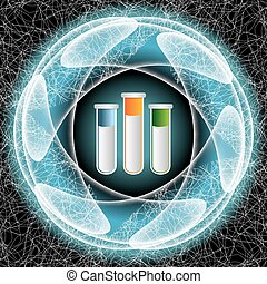Vector abstract object and test tubes
