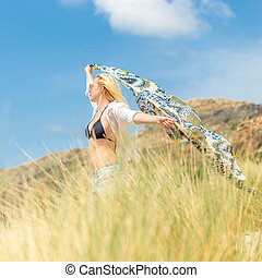 Free Happy Woman Enjoying Sun on Vacations - Relaxed woman,...