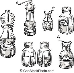 Salt and pepper shakers. Spice containers. Set of vector...