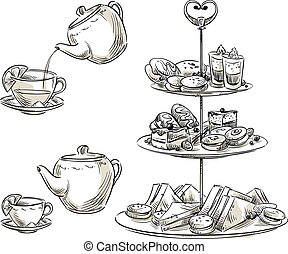 Set of snacks on a tray. Teatime. Vector sketch.