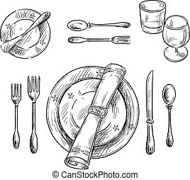 Table setting. Vector sketch.