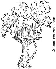 Treehouse. Hand drawn. - Treehouse. Hand drawn, vector...