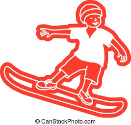 snowboard - child standing on snowboard