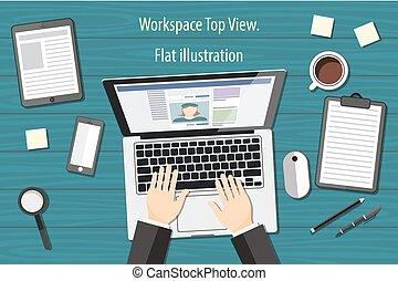 workplace - top view - flat design - laptoop blue - desk vector
