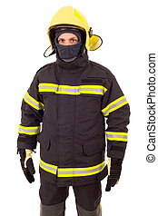 fire fighter isolated on white background