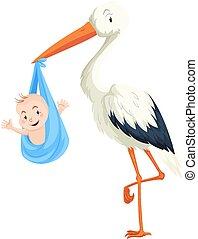 Crane delivering baby boy illustration