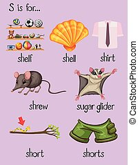 Many words begin with letter S illustration