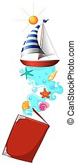 Book of sailboat in the sea
