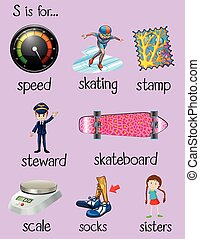 English words begin with letter S illustration