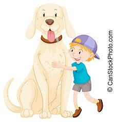 Little boy and pet dog