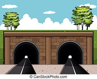 Two tunnels on the road illustration