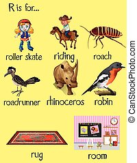 Many words begin with letter R illustration
