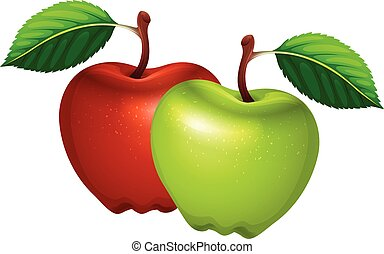 Fresh green and red apples