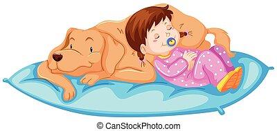 Little girl sleeping with pet dog