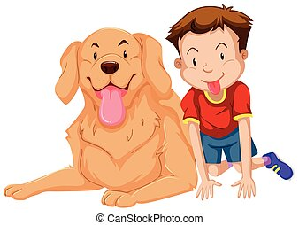 Cute boy and pet dog