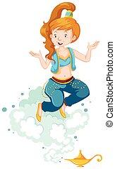 Pretty genie in blue costume illustration