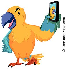Parrot taking picture with cellphone