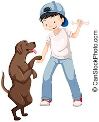 Little boy playing with pet dog