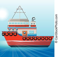 Tugboat floating in the ocean illustration