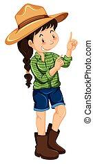 Farm girl in green shirt