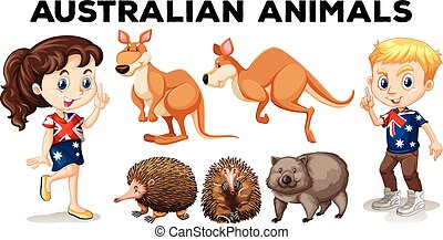 Set of Australian wild animals