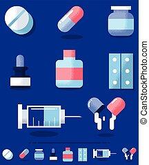 Drugs - Flat design illustration of medical drugs in 2 color...