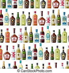 Alcohol drinks seamless pattern Bottles for restaurants and...