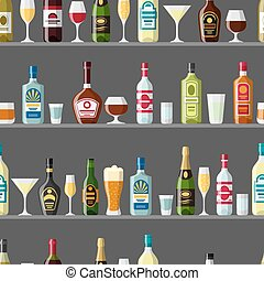 Alcohol drinks seamless pattern. Bottles, glasses for...