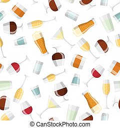 Alcohol drinks seamless pattern Glasses for restaurants and...