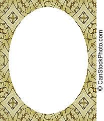 círculo, Quadro, com, oriental, decorado, fronteiras