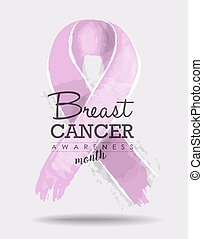 Breast cancer awareness ribbon art with typography