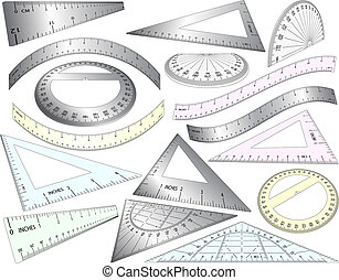 Rulers - Set of angled and bent editable vector rulers, set...