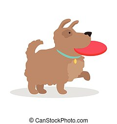Dog with frisbee Illustration in Flat Design. - Dog with...