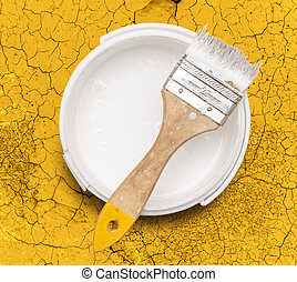 Can of white paint with brush - Open can of white paint with...