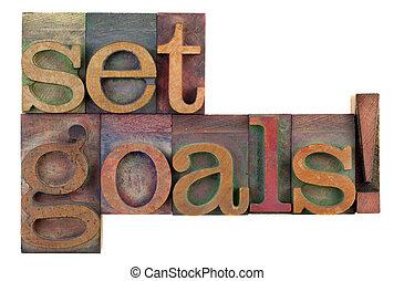 Conjunto, metas, -, de motivación, recordatorio